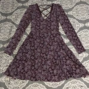 Burgundy floral long sleeve dress XS Maroon